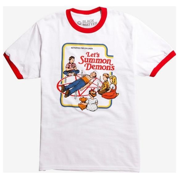 Steven Rhodes Let's Summon Demons Ringer T-Shirt